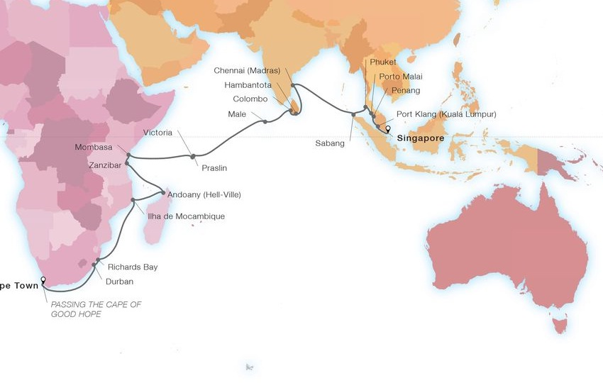 39-Day World Cruise: Africa & India Adventure